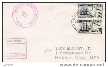 NZA013/ 1961, HMS Erebus (2 X) Via HMNZS Endeavour, Ross Dependency - Covers & Documents