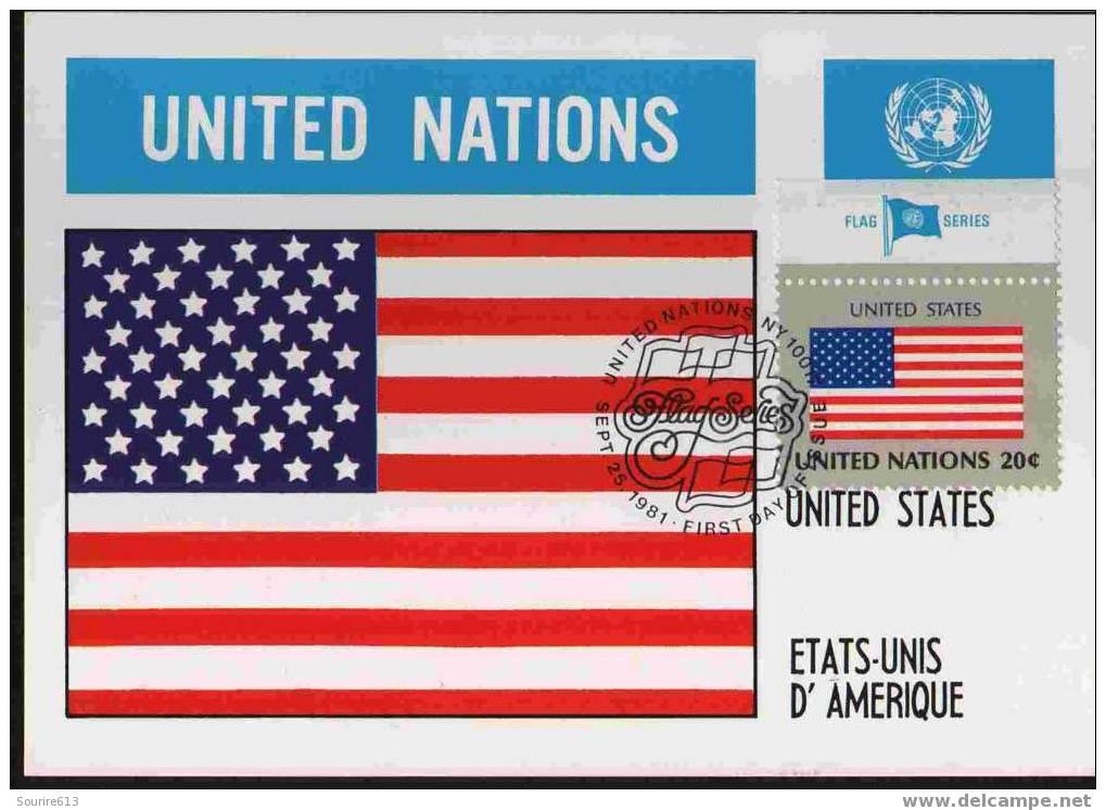 CPJ Nations Unies 1981 Drapeaux Etats-Unis D'Amérique - Briefe