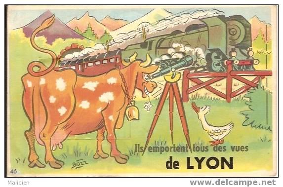 CARTE A SYSTEME- DEPLIANT VILLE -ref No 32bis- Lyon-vache-chemin De Fer Train-longue Vue  - Bon Etat - A Systèmes