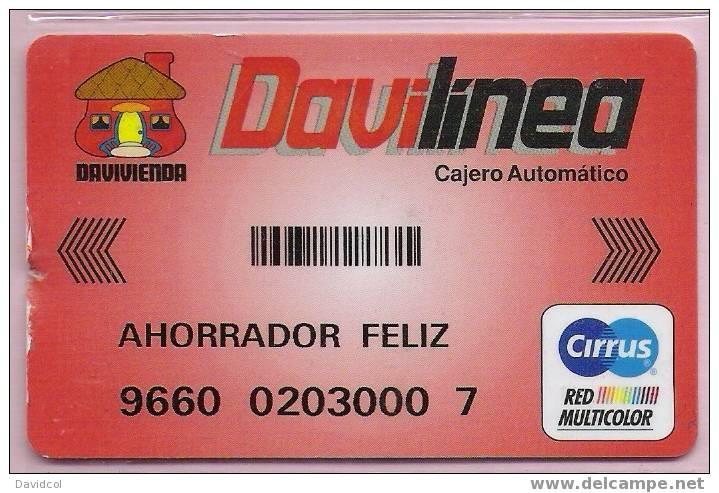 """COLOMBIA- 1999 - """" DAVILINEA """" - BANCO DAVIVIENDA - DEBIT  CARD - TYPE # 5- CARTE BANCAIRE - Cartes De Crédit (expiration Min. 10 Ans)"""