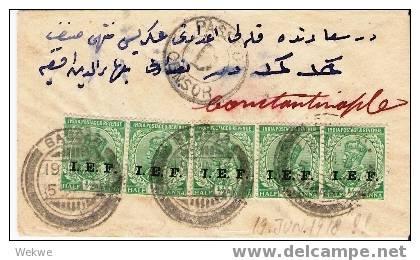 MES019/  IRAK Brief, Bagdad, Brit, Bsetzt, Postfreigabe N. Constantinople! EF-Frankatur 19.6.1918 (Brief, Cover, Letter) - Irak