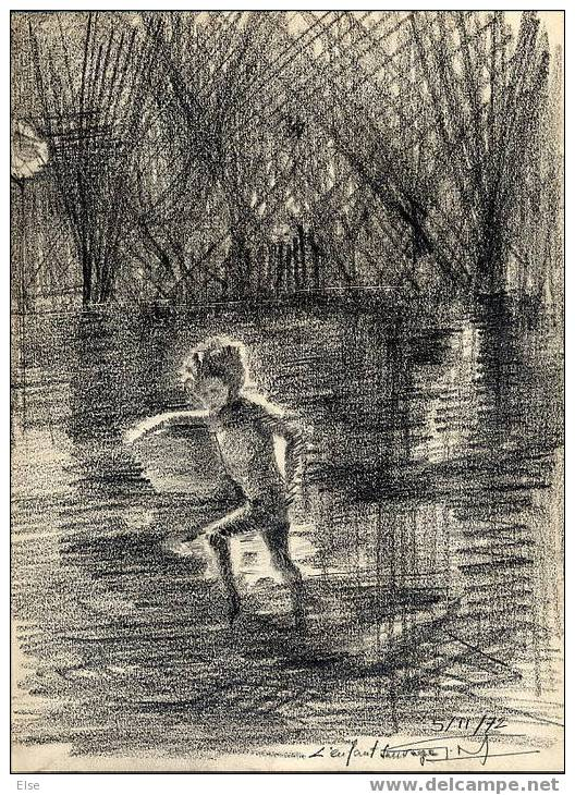 L ENFANT SAUVAGE  -  DESSIN AU CRAYON   -   SIGNATURE   -  1972 - Tekeningen