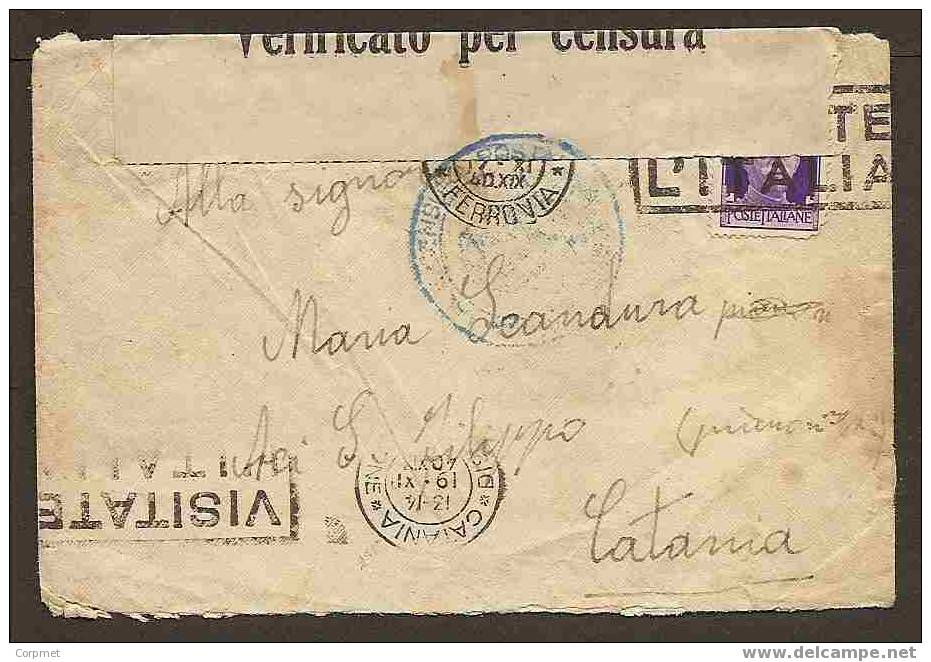 ITALIA - VF 1940 - ACI S. FILIPPO - CATANIA CENSORED COVER - 1900-44 Victor Emmanuel III.