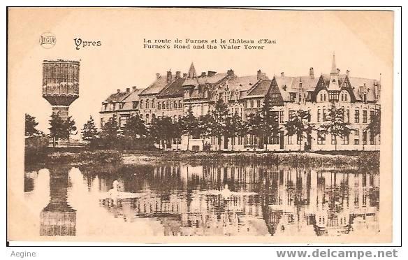 Chateau D Eau - Ref No 14- Ypres -belgique - La Route De Furnes Et Le Chateau D Eau  - Bon Etat - Châteaux D'eau & éoliennes