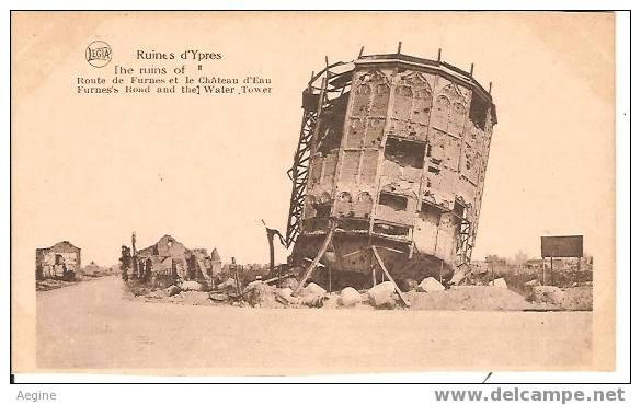Chateau D Eau - Ref No 06-ruines D Ypres- Belgique - Route De Furnes Et Le Chateau D Eau    - Bon Etat - Châteaux D'eau & éoliennes