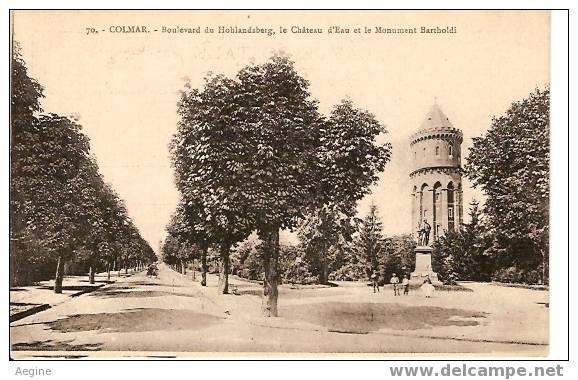 Chateau D Eau - Ref No 02- Colmar-bld Du Hohlandsberg, Le Chateau D Eau Et Monument Bartholdi   - Bon Etat - Châteaux D'eau & éoliennes