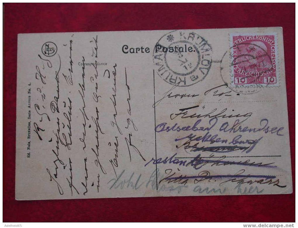 (2 Scans) Rare! Antwerpen, Bassin Du Kattendyk(dok), Stempel, Cachet Krumlov, 1912, Boot, Bateau - Antwerpen