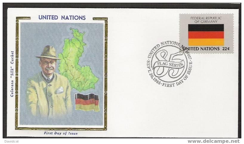 SA254.-.U.N. / O.N.U - SILK COVER-  GERMANY // ALEMANIA  FLAG- BEAUTIFUL COVER. - Briefe