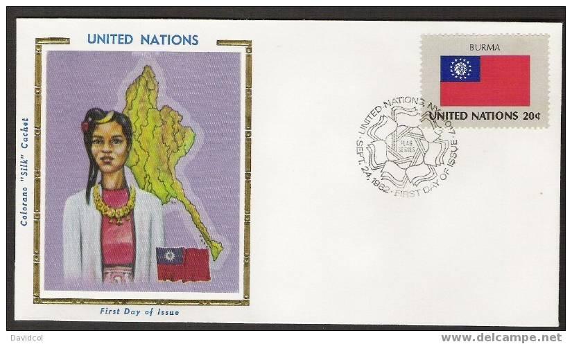 SA257.-.U.N. / O.N.U - SILK COVER- BURMA  //  BURMA  FLAG- BEAUTIFUL COVER. - Briefe