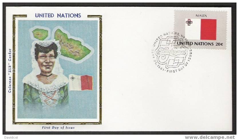 SA258.-.U.N. / O.N.U - SILK COVER- MALTA  //  MALTA  FLAG- BEAUTIFUL COVER. - Briefe