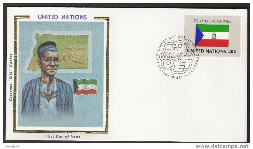 SA260.-.U.N. / O.N.U - SILK COVER- EQUATORIAL GUINEA // GUINEA ECUATORIAL  FLAG- BEAUTIFUL COVER. - Briefe