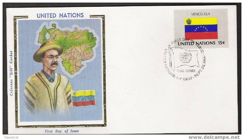 S894.-.U.N. / O.N.U - SILK COVER-  VENEZUELA  //  VENEZUELA  FLAG- BEAUTIFUL COVER. - Briefe