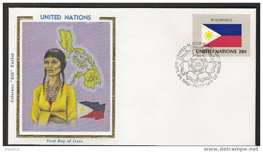 S896.-.U.N. / O.N.U - SILK COVER-  PHILIPPINES  // FILIPINAS  FLAG- BEAUTIFUL COVER. - Briefe