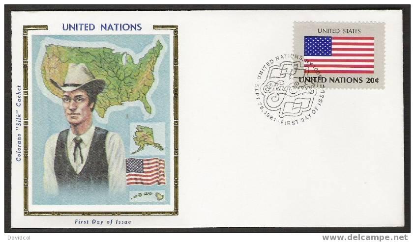 S899.-.U.N. / O.N.U - SILK COVER-  UNITED STATES  // ESTADOS UNIDOS  FLAG- BEAUTIFUL COVER. - Briefe