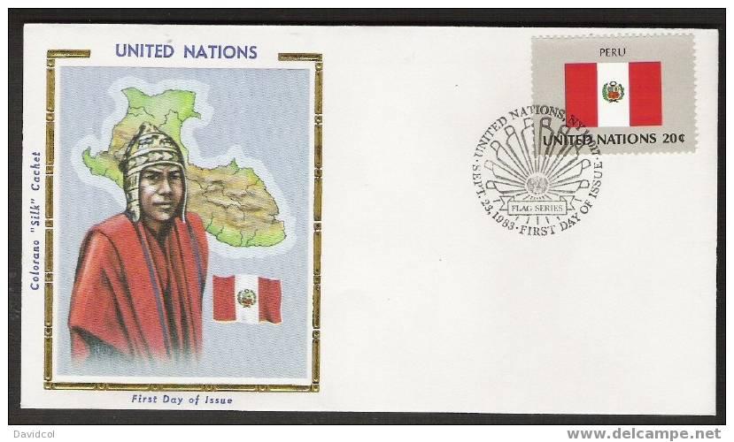 S900.-.U.N. / O.N.U - SILK COVER-  PERU // PERU  FLAG- BEAUTIFUL COVER. - Briefe