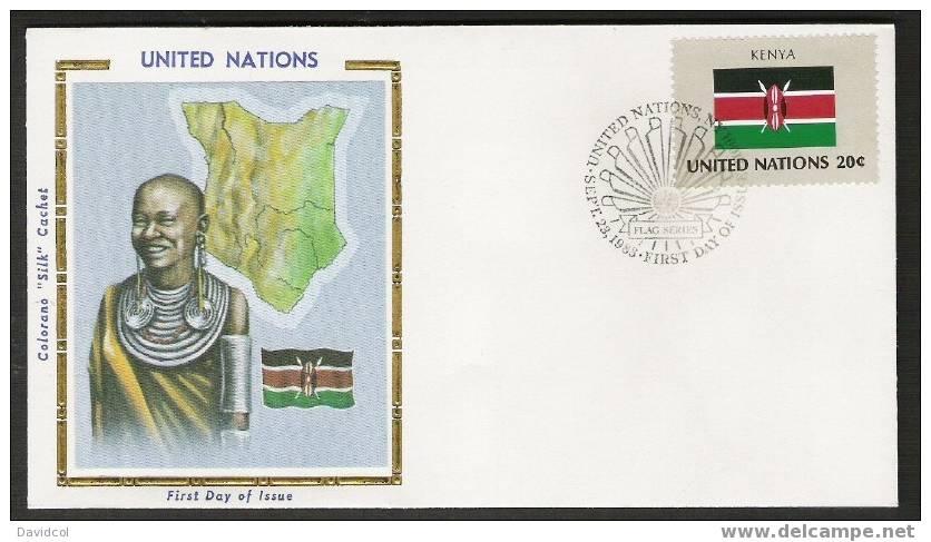 S902.-.U.N. / O.N.U - SILK COVER-  KENYA  // KENIA  FLAG- BEAUTIFUL COVER. - Briefe