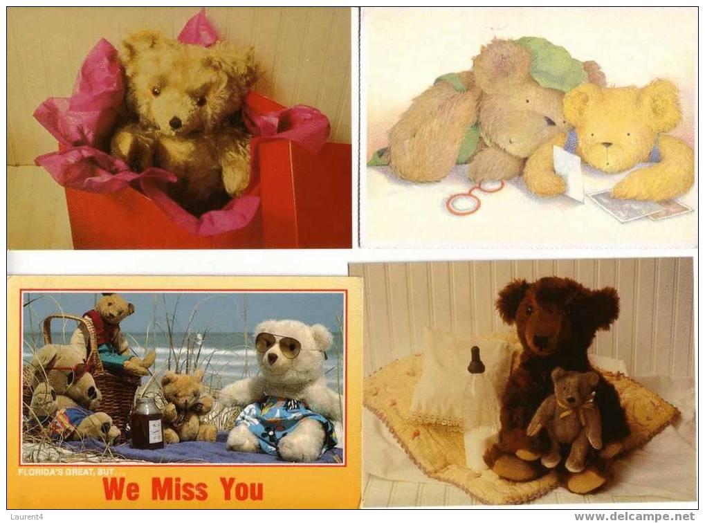 4 Carte D´ours En Peluche / 4 Teddy Bears Postcard - Jeux Et Jouets