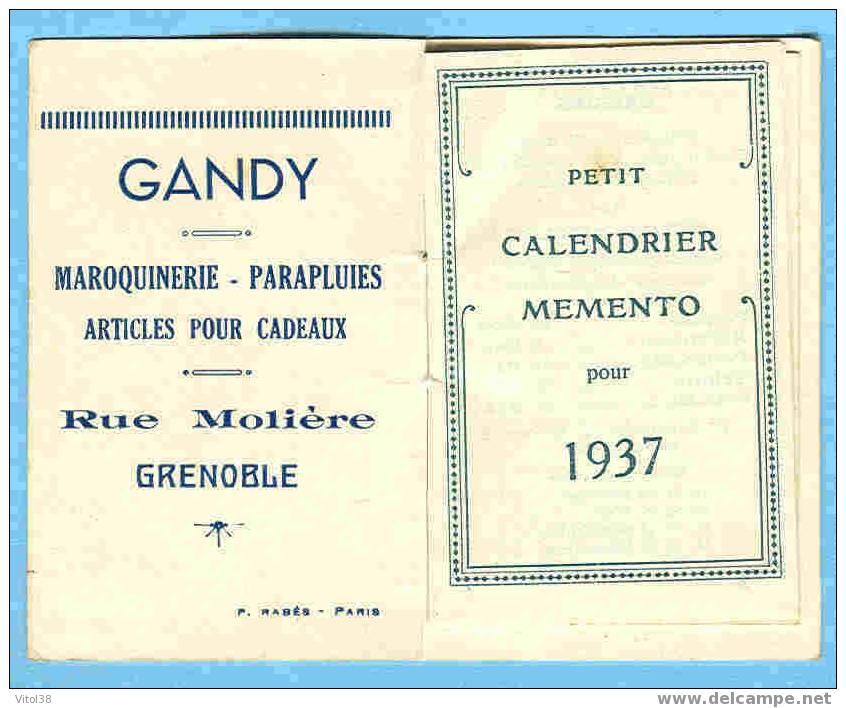 CALENDRIER 1937 GANDY MAROQUINERIE PARAPLUIES ARTICLES POUR CADEAUX RUE MOLIERE GRENOBLE - Calendari