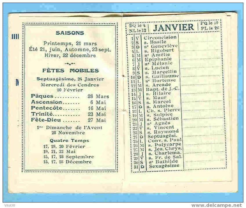 CALENDRIER 1937 GANDY MAROQUINERIE PARAPLUIES ARTICLES POUR CADEAUX RUE MOLIERE GRENOBLE - Petit Format : 1921-40