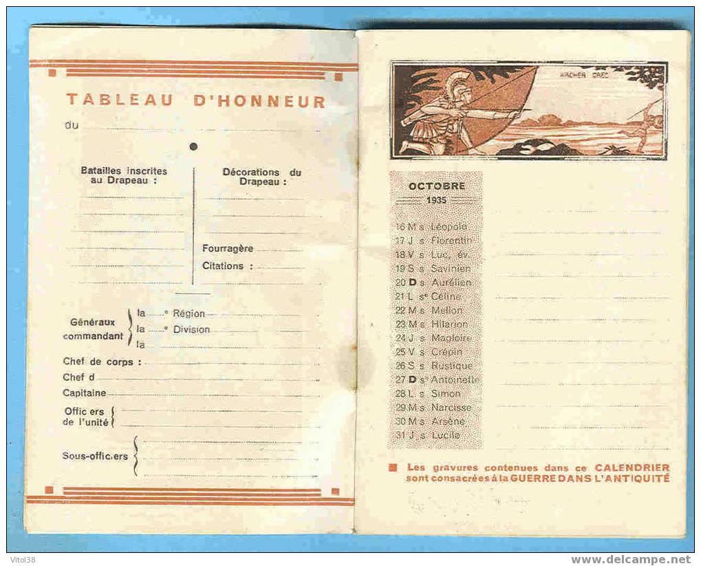 CALENDRIER 1935 1937 DU SOLDAT FRANCAIS LE SERMENT DES HORACES DAVID LE VOLTIGEUR EXCELLENT CIGARE LEGER CLAIRON DE CHAS - Calendriers