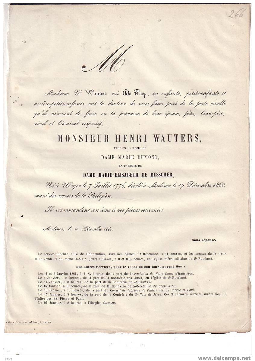 Faire-part Mortuaire + 1860 MECHELEN Wijer Nieuwerkerken Henri WAUTERS Né En 1776 - Faire-part