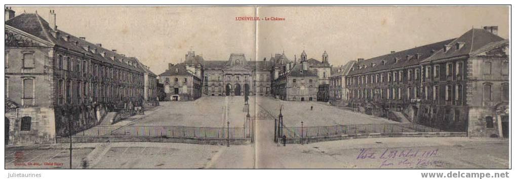Lunéville Le Chateau Cpa Panoramique En Deux Volet - Luneville