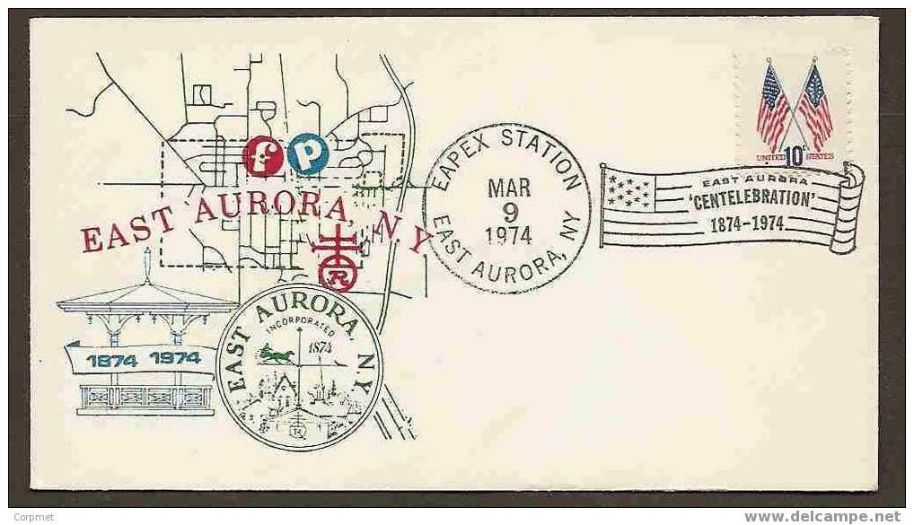 US -  COMM CACHETED COVER FROM 100th ANNIV. From EAST AURORA, NY - FLAG CANCELLATION Over FLAG STAMPS - Briefe
