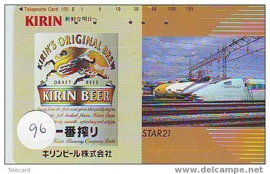 Télécarte BIER (96) BEER - BIERE - CERVEZA Train Japon - Lebensmittel