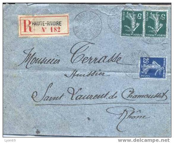 LETTRE RECOMMANDEE   RHONE SEMEUSES - 1921-1960: Periodo Moderno