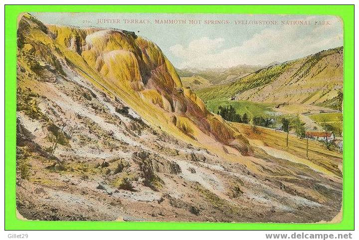 YELLOWSTONE PARK, WY - JUPITER TERRACE MAMMOUTH HOT SPRINGS -  TRAVEL IN 1910 - SCHEUBER DRUG CO - 3/3 BACK - - Yellowstone