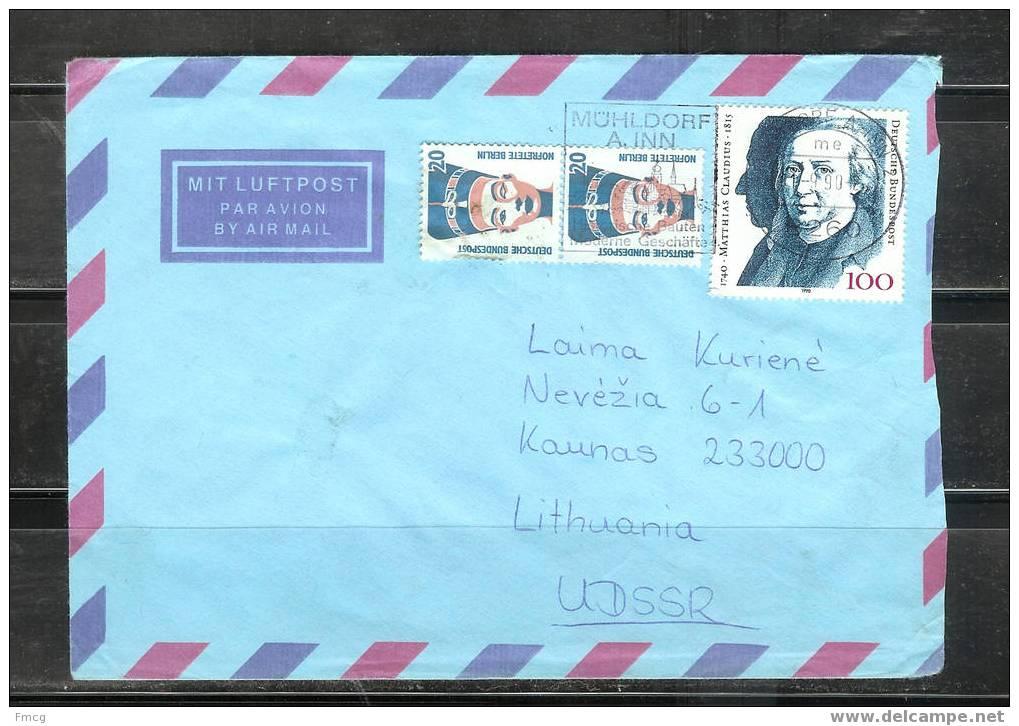 1990 - 100pf Matthias Claudius Writer To Kaunas, Lithuania - Storia Postale