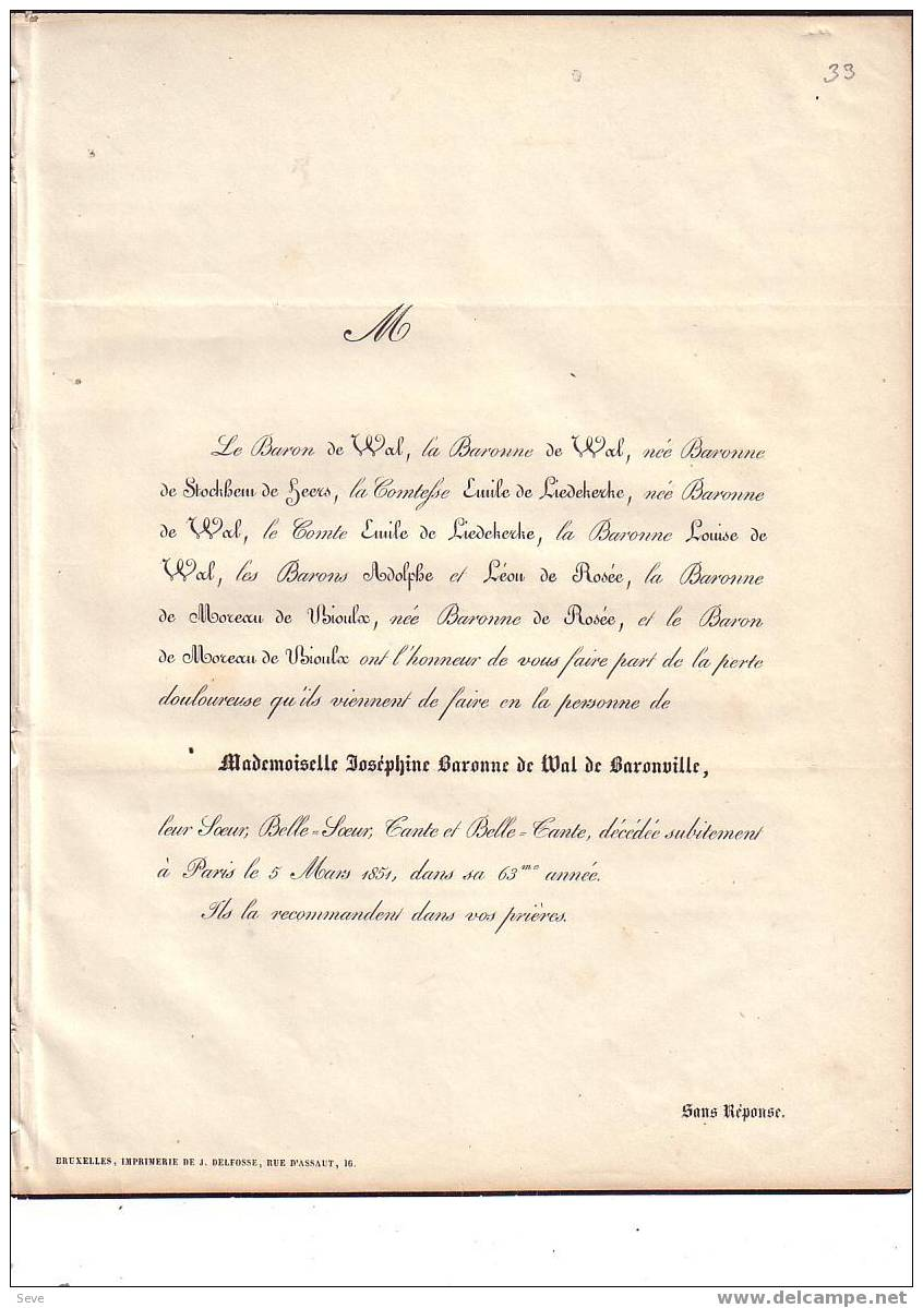 + 1852  MADRID Théodore De PIZARRO Et BOULIGNY 32 Ans Lieutenant-colonel Armée Espagnole Mayordomo De SEMANA De S.M. - Esquela