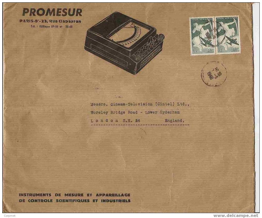 FRANCE VF ADVERTISEMENT COVER With A Pair Of Yvert # A 16 Sent To LONDON IN 1948 - Luftpost