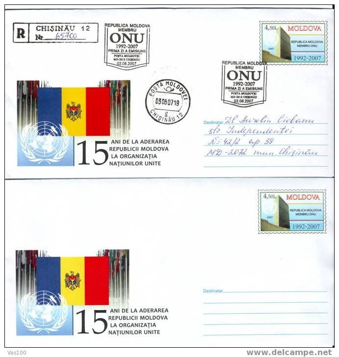 MOLDOVA  2007 NEW,2X Stationery With Post Mark FDC,ORGANIZATIONS ONU . - Briefe