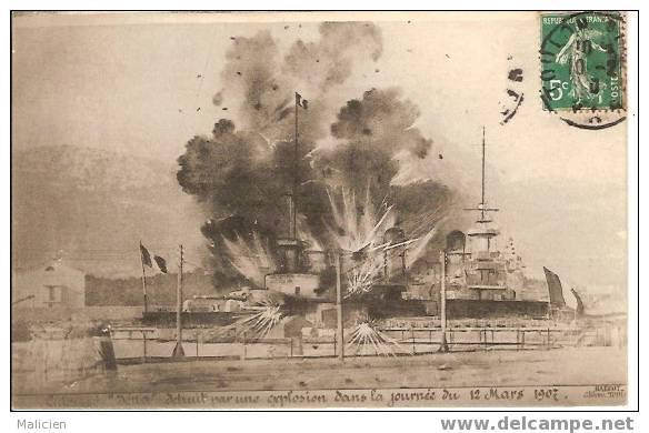 Ref Mla 99- MARINE DE GUERRE -cuirasse Iena Detruit Par Une Explosion Dans La Journee Du 12mars 1907-bon Etat - Guerra