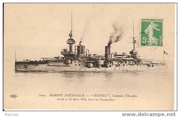 Ref Mla 66- MARINE DE GUERRE -bouvet- Cuirasse D Escadre -coule Le 18 Mars 1915-dans Les Dardanelles - Bon Etat - Guerra