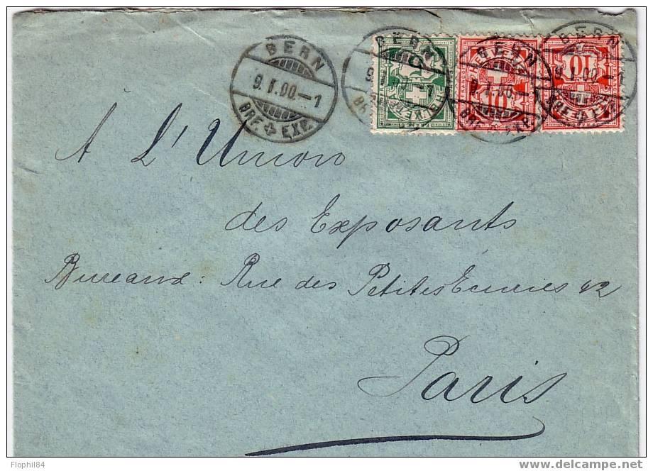 SUISSE-BERN DU 9-1-1900 AFFRANCHISSEMENT POUR PARIS - Covers & Documents