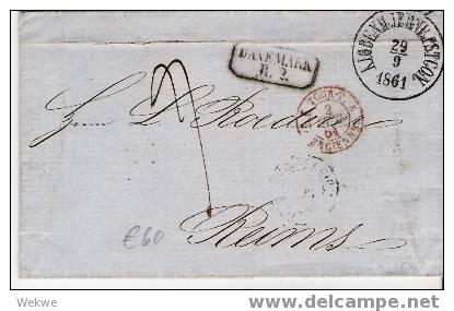 Dk-F7-001/Copenhagen-Frankreich 1861,via Hamburg,Valenciennes Nach Reims - 1851-63 (Frederik VII)