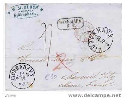Dk-F7-006/Copenhagen-Frankreich(Rayon 2),via DK+Th/T, PA Hamburg - 1851-63 (Frederik VII)