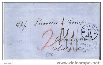 Dk-F7-007/  DÄNEMARK - Randers 1861 N.ach Holland Via Stadtpostamt Hamburg - Briefe U. Dokumente
