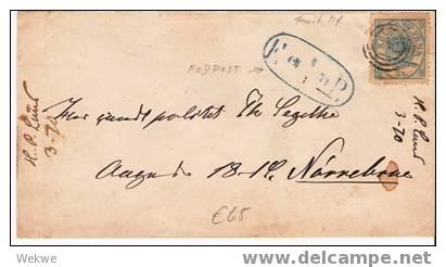 Dk-C9-007/ Facit 11f, 1 A Gezähnt/zentriert, Fodpost 1870,Norrebrue - 1864-04 (Christian IX)