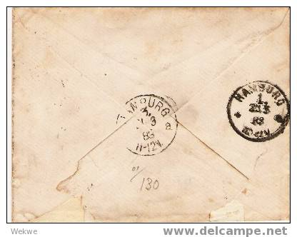 Dk-C9-010/ Facit 53, Mi. 33, Bahnpost 86 Nach Hamburg 1883 - 1864-04 (Christian IX)