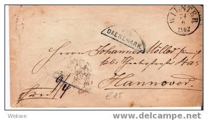 Dk-F7-009 Ex /Wilster Nach Hannover 1862, Per Bahnpost Flensburg-Itzehoe - 1851-63 (Frederik VII)