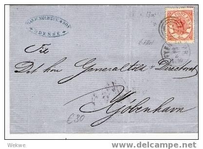 Dk-C9-013/  DÄNEMARK - Reichsinsignien 4 S., Schön Zentriert, Per Bahnpost - 1864-04 (Christian IX)