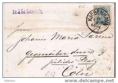 Dk-C9-012/  DÄNEMARK - Wappen Im Oval 20 Ö. 1886 N. Köln - Briefe U. Dokumente