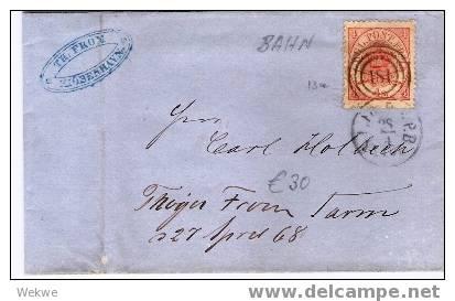 Dk-C9-014/ Bahnpost 181 Auf 4 S. Kroninsignien - 1864-04 (Christian IX)