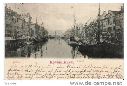 Dk-C9/022/   DÄNEMARK - Ansichtskarte Kopenhagen, Neuer Hafen 1903, Schöne Frankatur N. Deut. - Briefe U. Dokumente