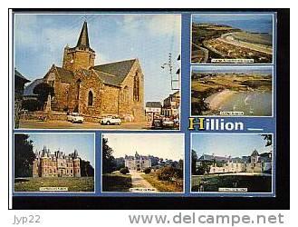 Jolie CP 22 Hillion - Multivue Eglise Château Des Aubiers , Des Marais Et De Bon Abri Plages - 2 CV 2CV Citroën 4L 404 - Autres Communes