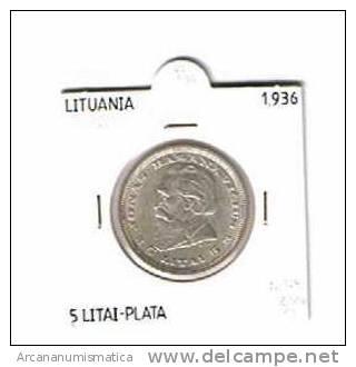 LITUANIA LIETUVA LITHUANIA  5 LITAI  PLATA 1.936 EBC  KM#82  DL-734 - Lituania