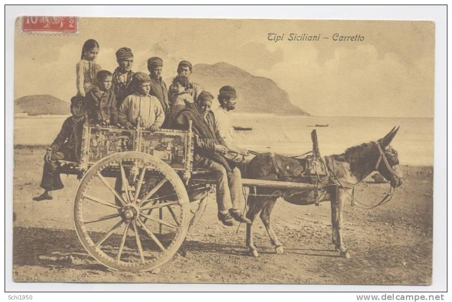 JP  -ITALIA  .  TIPI SICILIANI  .  Carretto  . 1911 . - People
